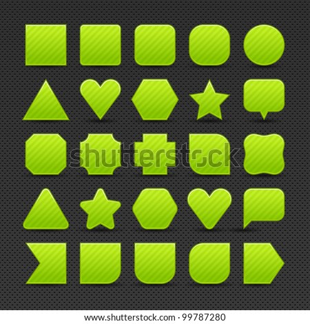 25 variations form green button with light stripes. Satin shapes with shadow on perforated metal seamless texture black background. Vector 10 eps. See more web internet design elements in my gallery - stock vector