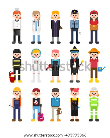Variety girl character about job vector stock vector for Character designer job