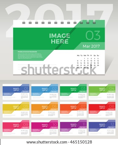 2017 Vector abstract Colorful Desk Monthly calendar template with space for image
