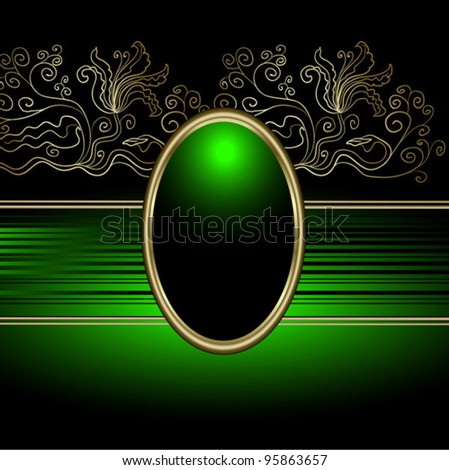 vector abstract elegant design background Green and black, with gold, The vintage vignette in ancient style, a cameo in a gold framework, malachite, Gold ornament on a black background - stock vector