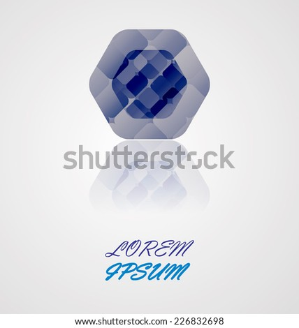 Vector Abstract Icon or Logo Design in Hexagon Form.
