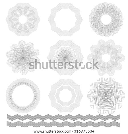 Vector Abstract Wave Rosettes on White Background. Guilloche Elements - stock vector