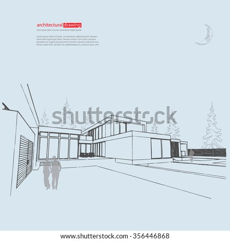 Architectural Drawing Facade Background Architectural Theme Stock