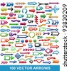 100 vector arrows for web design - stock vector