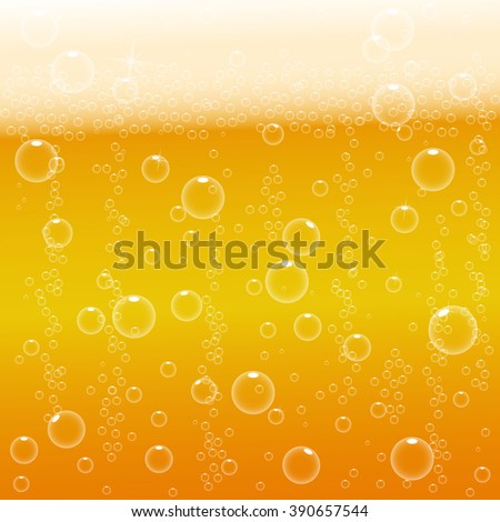 vector background beer with foam and bubbles - stock vector