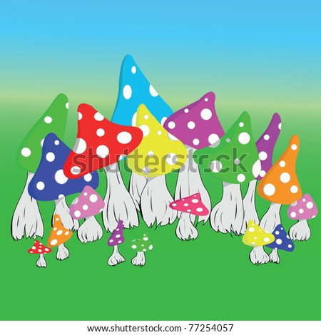 Vector background fly agaric mushrooms - stock vector