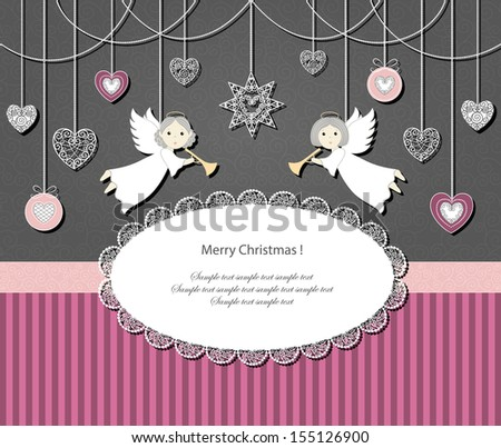 Vector background with christmas angels, decorations and lace oval on grey and pink.  - stock vector