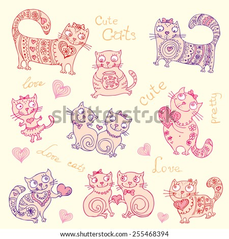 vector background with different cute animals,objects and hearts - stock vector