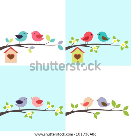 4 vector backgrounds with couple of  birds on the branch