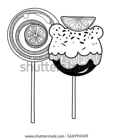 vector black white candies lollipop stock vector 566994349