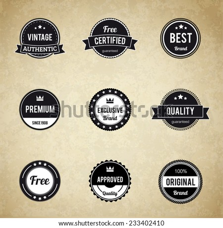 Vector Black and White Retro Stamps and Badges Isolated on cardboard Background - stock vector - stock vector