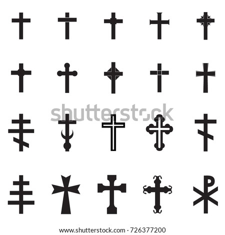 Vector black  cross set on white background