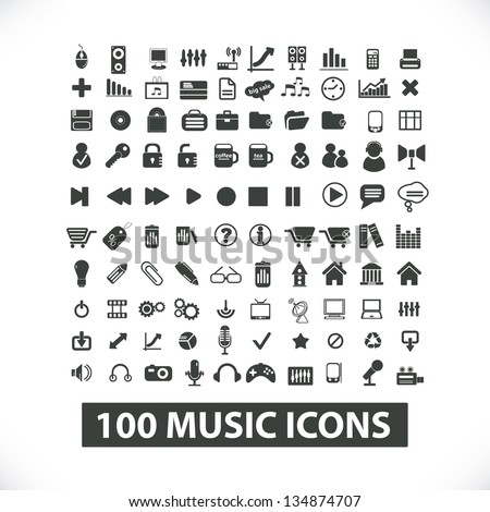 100 vector black music, movie, icons set for web and mobile