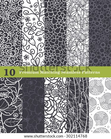 10 Vector Black White Natural Seamless Pattern Set - stock vector