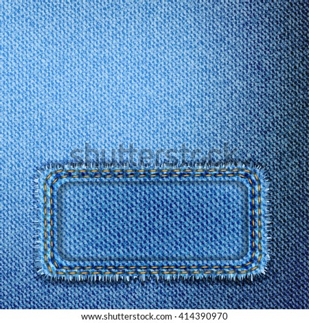 Vector blue jeans background and banner. Vector denim texture. - stock vector