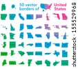 50 vector borders of United States of America in one  with names and map of the country - stock photo