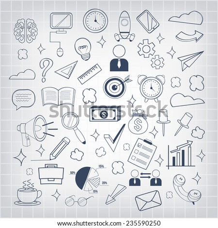 Vector business doodles icon