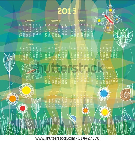 2013 Vector Calendar - Colorful Meadow with Tulips and Other Flowers,Two Butterflies, a Snail and a Beetle - stock vector