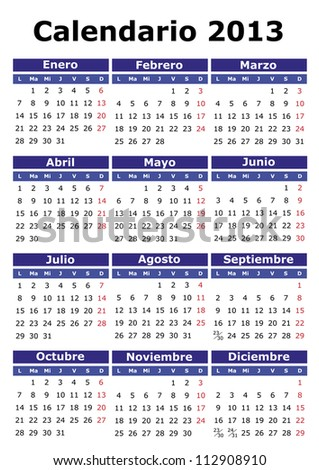 2013 vector calendar in Spanish. Easy for edit and apply