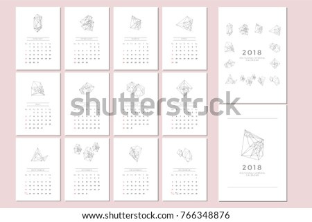 Vector Calendar Template Polygonal Graphic Stock Vector Hd