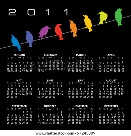 2011 vector calendar with birds and space for text - stock vector