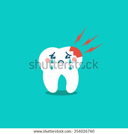 Vector cartoon sick tooth. Decay and destroy tooth. Cute tooth crying.  - stock vector