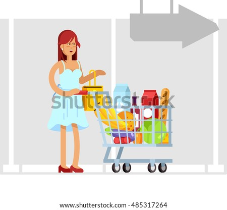 Vector character woman with supermarket basket full of meal. Healthy eating and eco food in supermarket. Daily purchases.