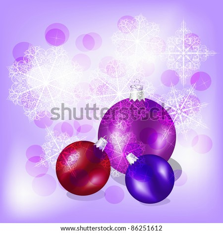vector christmas background with bright shiny balls