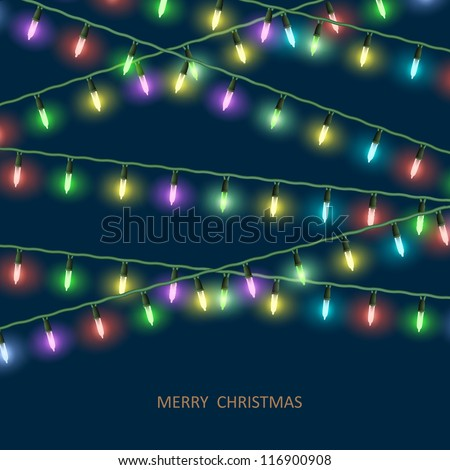 Vector Christmas lights - stock vector