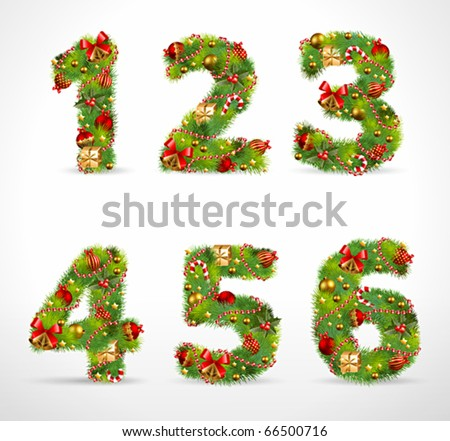 123456, vector christmas tree font - stock vector