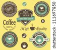 Vector coffee labels in  vintage style - stock vector