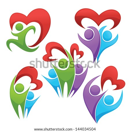 vector collection of family, hearts and people - stock vector