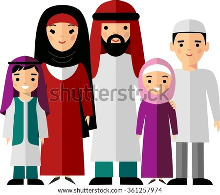 Modern arab family modern muslim parents with two children boy and