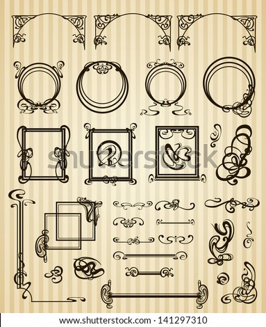 Vector decorative set items and scope in modern style - stock vector
