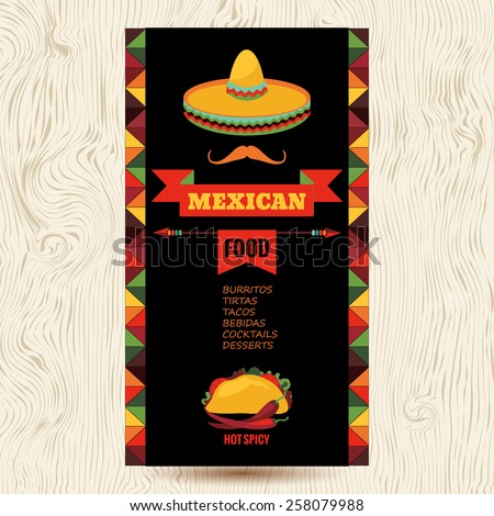 Vector design template for Mexican restaurant. Mexican food - stock vector