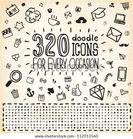 320 Vector Doodle Icons Universal Set - stock vector