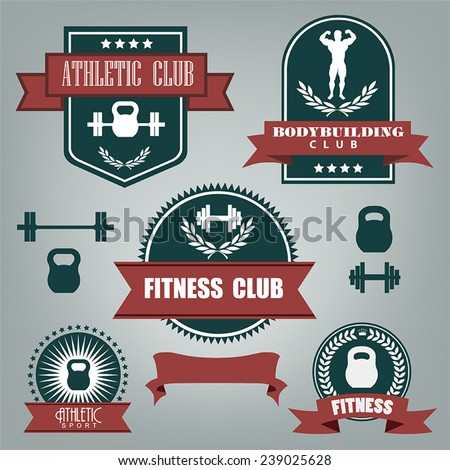 5 vector emblems athletics, fitness and bodybuilding red-green color on a gray background - stock vector