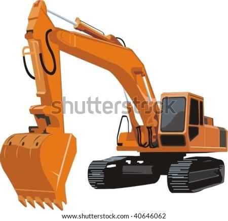 vector excavator - stock vector