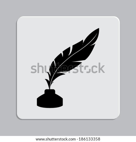 Vector feather and ink bottle icon on a grey flat button  - stock vector