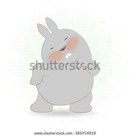 Vector flat illustration cute rabbit for print. Shy funny bunny .Cute cartoon bunnies dancing. Cute hipster bunny boy and  girl, character design for apparel.  Happy dancing rabbit.  - stock vector