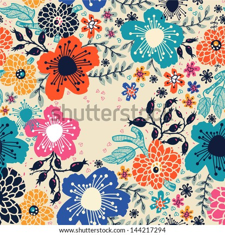 vector floral  background with bright blooming flowers - stock vector