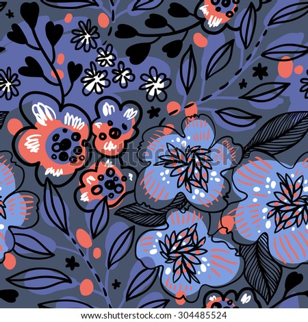 vector floral seamless pattern with abstract flowers and leaves in blue colors - stock vector