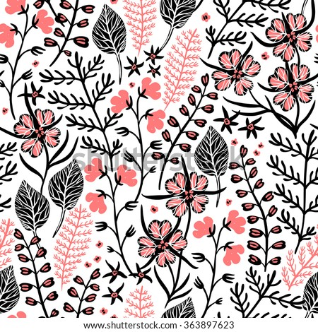 vector floral seamless pattern with abstract plants and herbs
