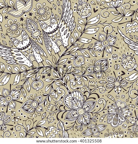 vector floral seamless pattern with fantasy trees, flowers and owls - stock vector