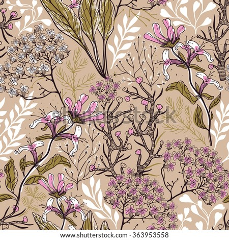 vector floral seamless pattern with hand drawn blooming  plants and herbs