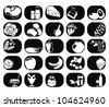 25 vector food and drinks vector labels set - silhouette - stock vector