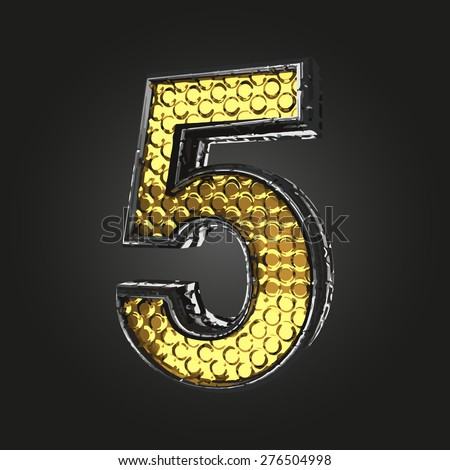 5 vector golden and silver letter