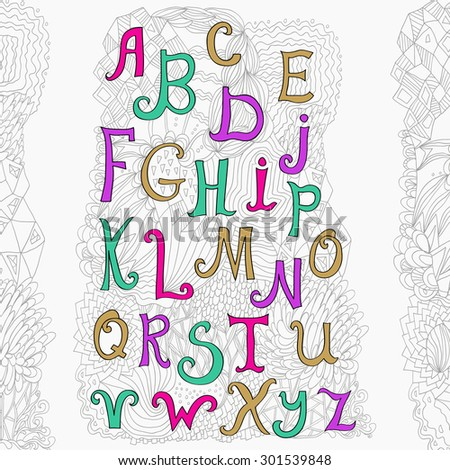 Vector hand drawn alphabet isolated on white background and cute doodle background. ABC for your design. Easy to use and edit letters. - stock vector