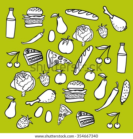 Vector hand drawn food icons set in black and white colors. Pizza, burger, vegetables, fruits, cheery, apple, strawberry, pear,pie, eggs, bread,pepper, cabbage, tomato, milk. Collection of cute items - stock vector