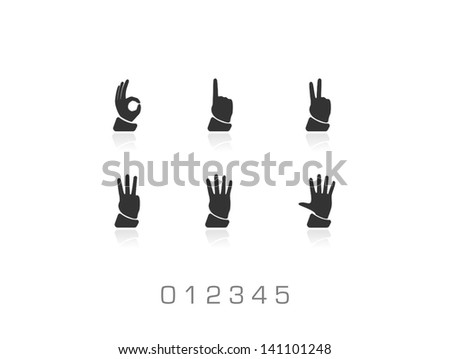 0 1 2 3 4 5 vector hands set on white background. Black pictograms for business presentations, web, internet, computer and mobile apps, interface design: hand, palm, number, finger symbol - stock vector